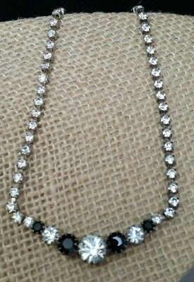 Vintage Multi Prong Set Clear & Black Rhinestone Bib Rhinestone Strand Necklace