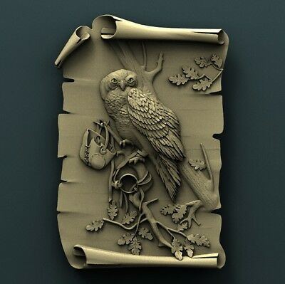 3d STL Model Relief for CNC Router  _ (0091) Owl