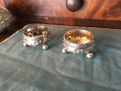 Tiffany & co Antique sterling silver Ornate footed Open Salts matching pair 1873