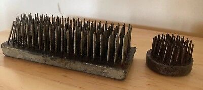 Vintage Metal Frog Flower Arranging Spikes X 2