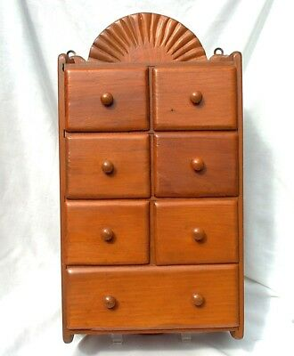Vintage Wooden 7 Drawer Spice Apothecary Cabinet Box Wall Hanger Mid Century