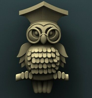 3d STL Model Relief for CNC Router  _ (0107) Owl