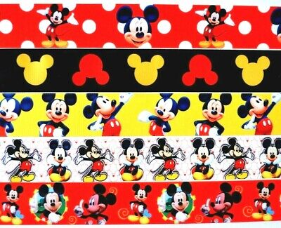 "Grosgrain Ribbon 5 yards Mixed Lot Mickey Mouse You Choose 7/8"" Or 1.5"" Printed"