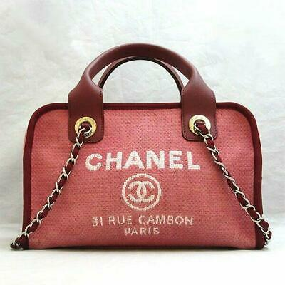 d1aa1fdaa910 CHANEL Deauville Bowling Hand A92749 Canvas Carf Skin Leather Chain Shoulder  Bag