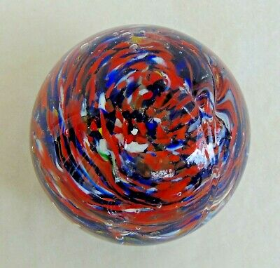 Vintage Blown Art Glass Paperweight Red Blue White Swirl Bubbles