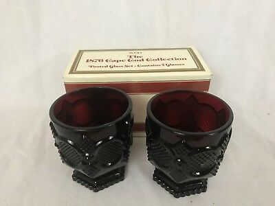 Avon Ruby Red 1876 Cape Cod Collection Footed Glass Set  in Original Box