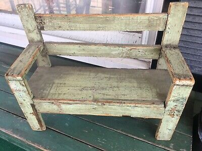 Antique Early Primitive Doll Bench Best Original Green Paint AAFA
