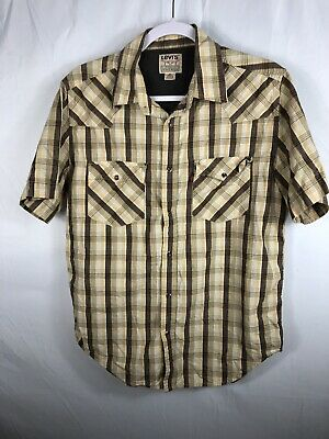 Levis Strauss Western Shirt Mens Sz M Authentic Jeanswear Pearl Snap Red Tab