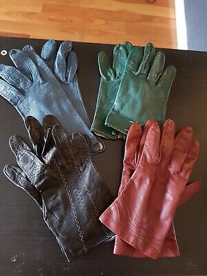 Vintage Leather Gloves (4 pairs)