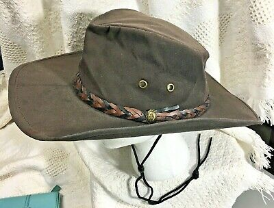 73b51924f AUSTRALIAN STOCKMAN OUTFITTERS Cougar Brown Hat LARGE Made USA Outback  Cowboy