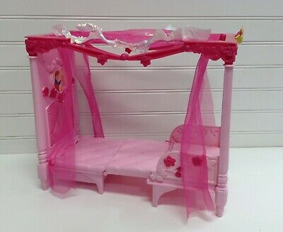 Mattel Barbie Doll House Furniture Princess Convertible Throne To Canopy Bed