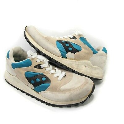 fab518b18fa9 VINTAGE SAUCONY JAZZ 4000 White Teal Blue Size 9 Womens Made In Usa ...