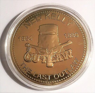 """NED KELLY""  999 24k Gold plated coin, The Last Outlaw 1854-1880 (29)"