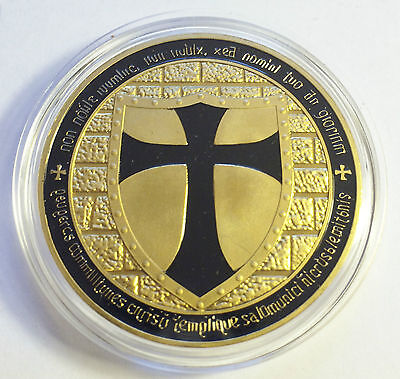"1 OZ 2014 ""BLACK"" TEMPLAR KNIGHT CROSS COIN Finished 999 24 k Gold"