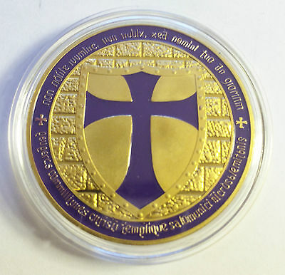 "1 OZ 2014 ""PURPLE"" TEMPLAR KNIGHT CROSS COIN Finished 999 24 k Gold"
