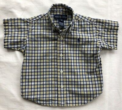 Ralph Lauren Polo Shirt Boys Size 18 mos EUC Blue & Yellow Plaid Short Sleeve