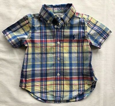 Ralph Lauren Polo Shirt Boys Size 12 mos EUC Blue Yellow Red Plaid Short Sleeve
