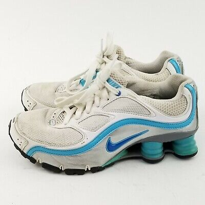 the best attitude 7ab83 7ca08 Nike Shox Turbo Women s Sz 6 White Silver Blue Running Shoes 366423-141  Sneaker