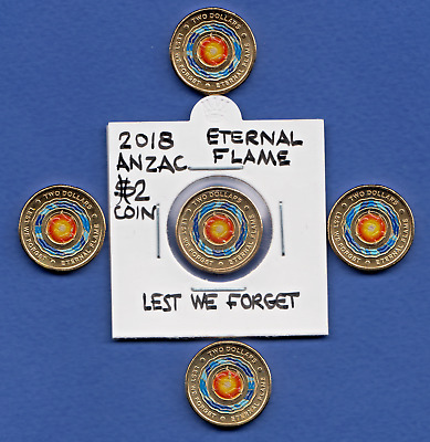 5x 2018 Lest We Forget Eternal Flame Anzac - $2 Dollar Coins UNCIRCULATED - L@@K