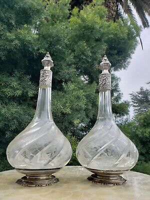 Ornate Antique German Embossed Hallmarked Silver Crystal Etched Liquor Decanters