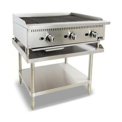Three Burner Commercial Chargrill with lava rock - 910MM width - LPG