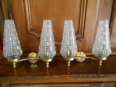 Pair vintage french brass Wall LIGHT SCONCES / hurricane shades