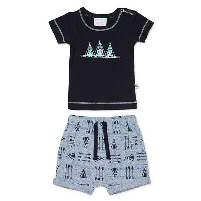 NEW Marquise T-Shirt & Shorts Set Navy/Grey 2 pce Size 00