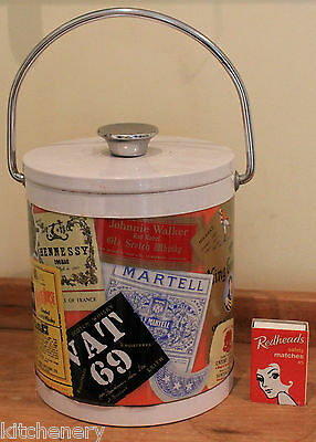Vintage Ice Bucket Whisky Wine Cooler Old Scotch Whiskey Labels Silver Handle