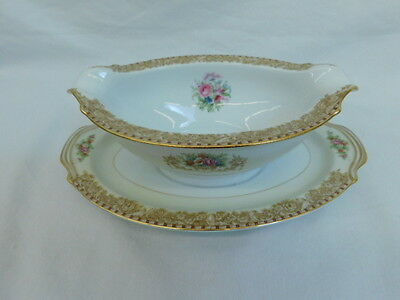 Noritake Mystery 203 China Occupied Japan Gravy Sauce Boat Attached Underplate