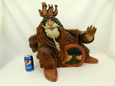 Hand Carved Wood Viking Wizard King Crown Door Jewelry Stash Box Signed R Pitz
