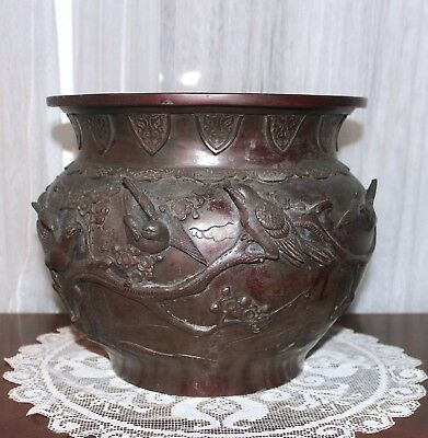 Signed Antique 19thC Meiji Japanese Bronze Large Baluster Vase Jar Jardiniere