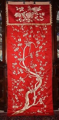 "c'19th Chinese Embroidered Red Silk Large Textile Panel Curtain 76"" Qing Dynasty"