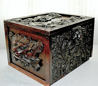 c19th French Carved Lion Heads Wood Pious Box Chest SPEC.MEA CHRISTUS Dated