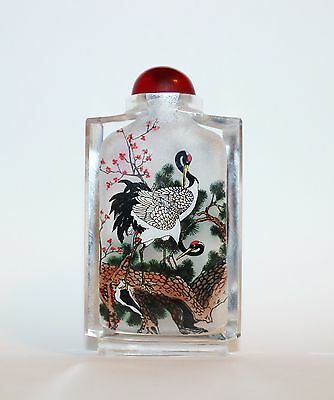 Antq Chinese Snuff Bottle Reverse Painted Glass Cranes Waterfalls Pine Tree #2