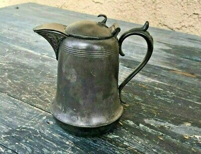 "Small Vintage ""New Amsterdam"" Silverplate Pitcher / Creamer With Lid & Patina"