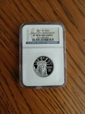 2007 W 1/2 oz $50 Platinum American Eagle 10th Anniver Proof Coin NGC PF 70 UCAM