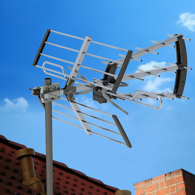 100Mile HDTV 4K 1080P Outdoor Amplified Digital TV Antenna UHF VHF + 10m Cable