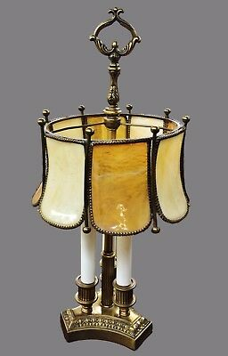 Antique French Bouillotte Lamp Tiffany Style Stained Slag Glass Art & Crafts
