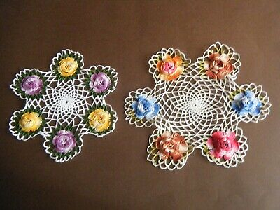 Old Vtg Lot of 2 Doilies hand crochet lace w 3d variagated color roses 40s