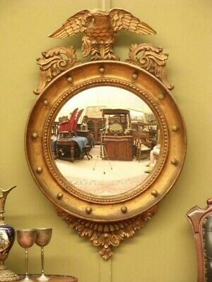 """Large """"antique Regency Style"""" Gilt Look Convex Wall Mirror ~ Beautiful Detail"""