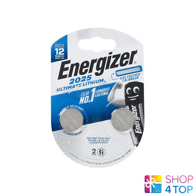 2 Energizer Cr2025 Ultimate Lithium Batteries 3V Coin Cell Dl2025 Exp 2025 New
