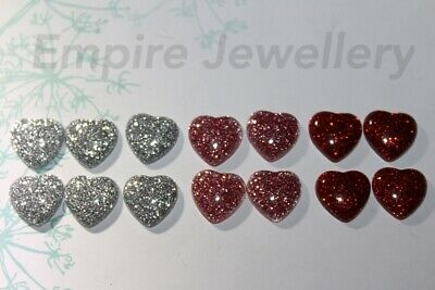 8 x Resin Flatback 12x12mm Glitter Heart Mixed Colours Cabochon Cameo Red Pink