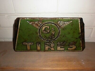 RARE & EARLY 1930s G & J TIRE ADVERTISING SIGN .