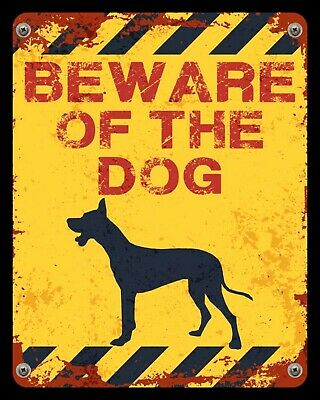 """10 x 8/"""" DANGER BEWARE OF THE DOGS SECURITY TRESPASS WARNING METAL WALL SIGN 1366"""