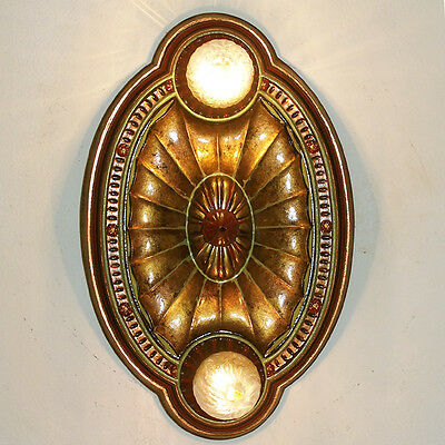 140b Vintage 10's 20s arT Nouveau Ceiling Light Fixture Polychrome sconce 1 of 2