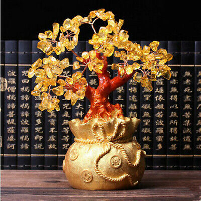 "7"" Feng Shui Wealth Lucky Citrine Yellow Crystal Gem Money Tree in Money Bag Pot"
