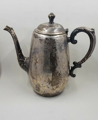 "WM Rogers & Son ""Spring Flower"" Pattern Silverplate Coffee/Tea Pot #2030"