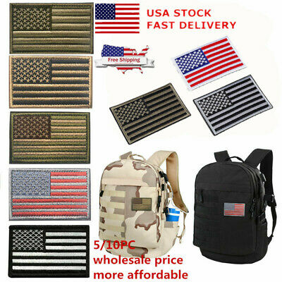"""1/5/10PC American US Flag Gray/White Border Flag Embroidery Iron On Patch 3""""x2"""""""
