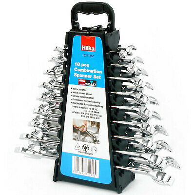 Hilka Combination Spanner Set in Metric & AF sizes. 18 Spanners with carrier.