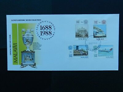 Malawi First Day Cover 1988 Lloyd's Historic Silver Collection  4 stamps